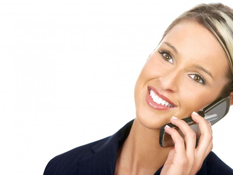 Girl on the phone calling dentist