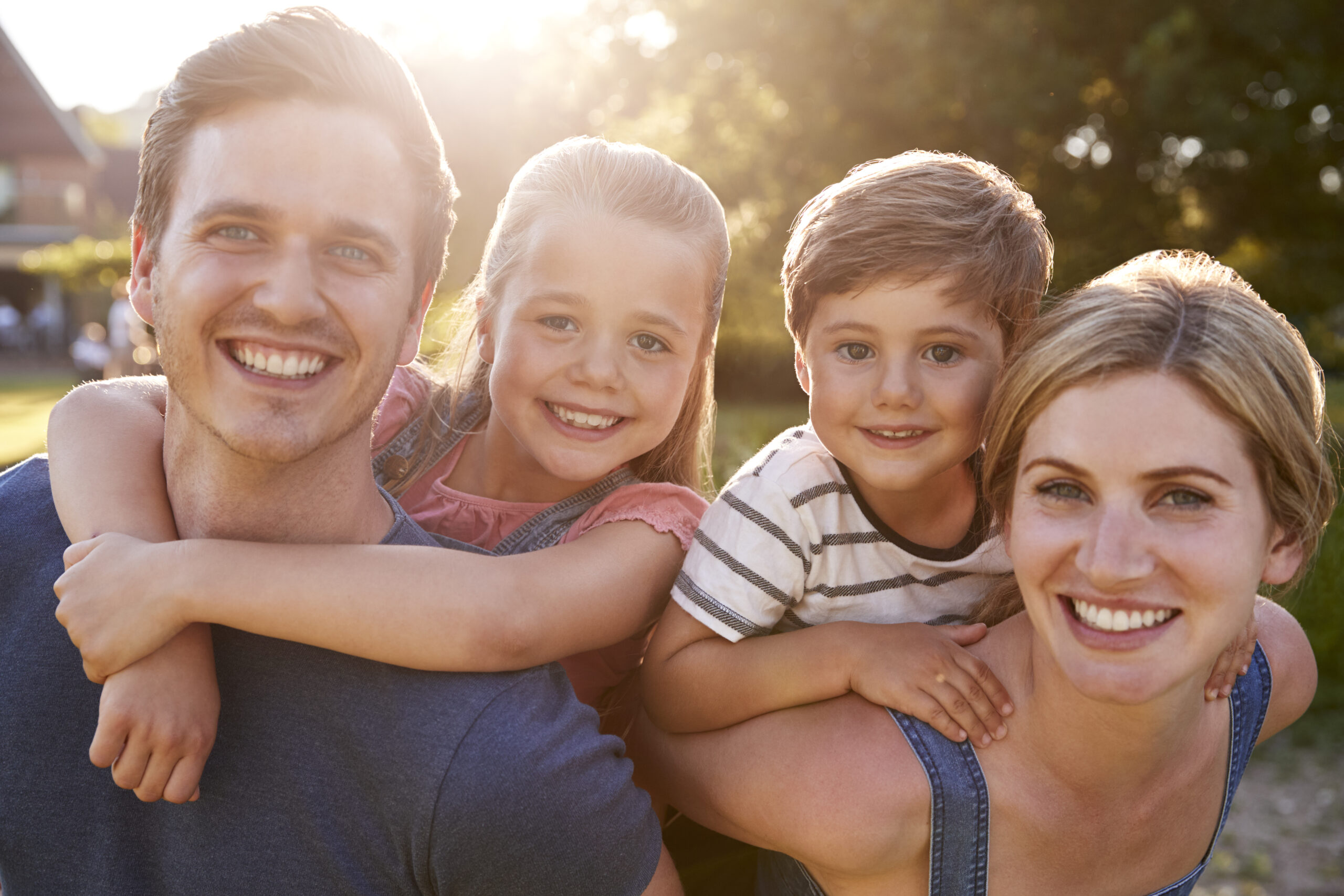 Family with beautiful smiles and teeth